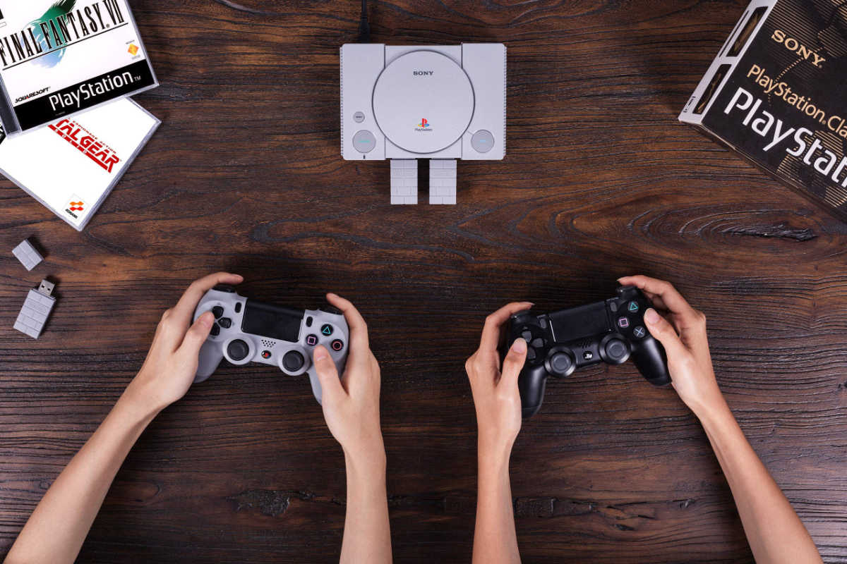 two 8bitdo playstation classic adapters being used