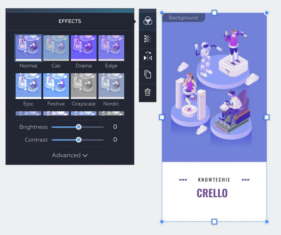 how to create designs in crello
