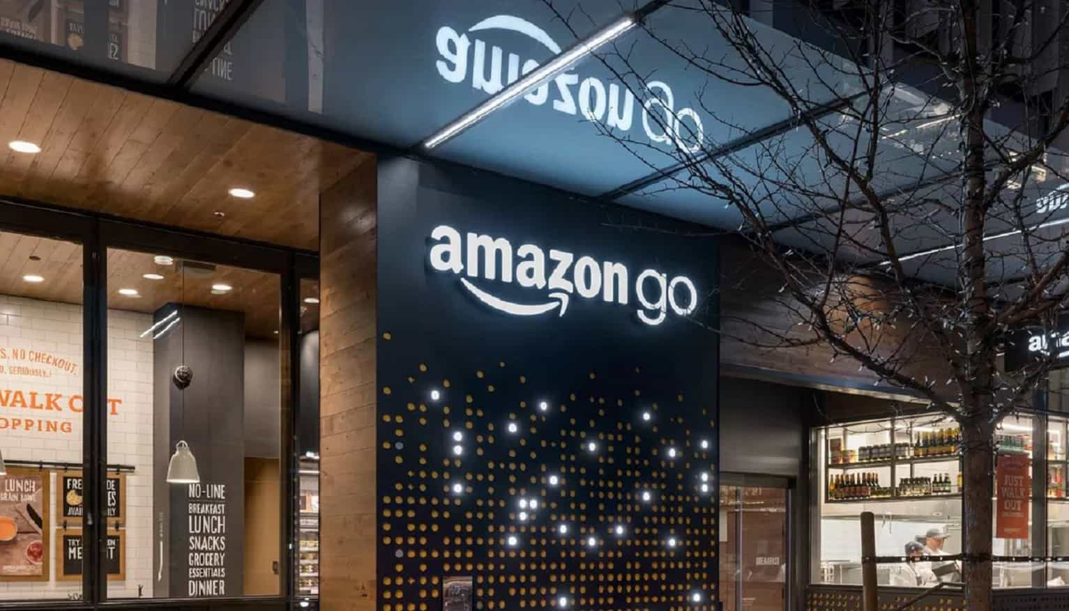 an amazon go store with bright lights