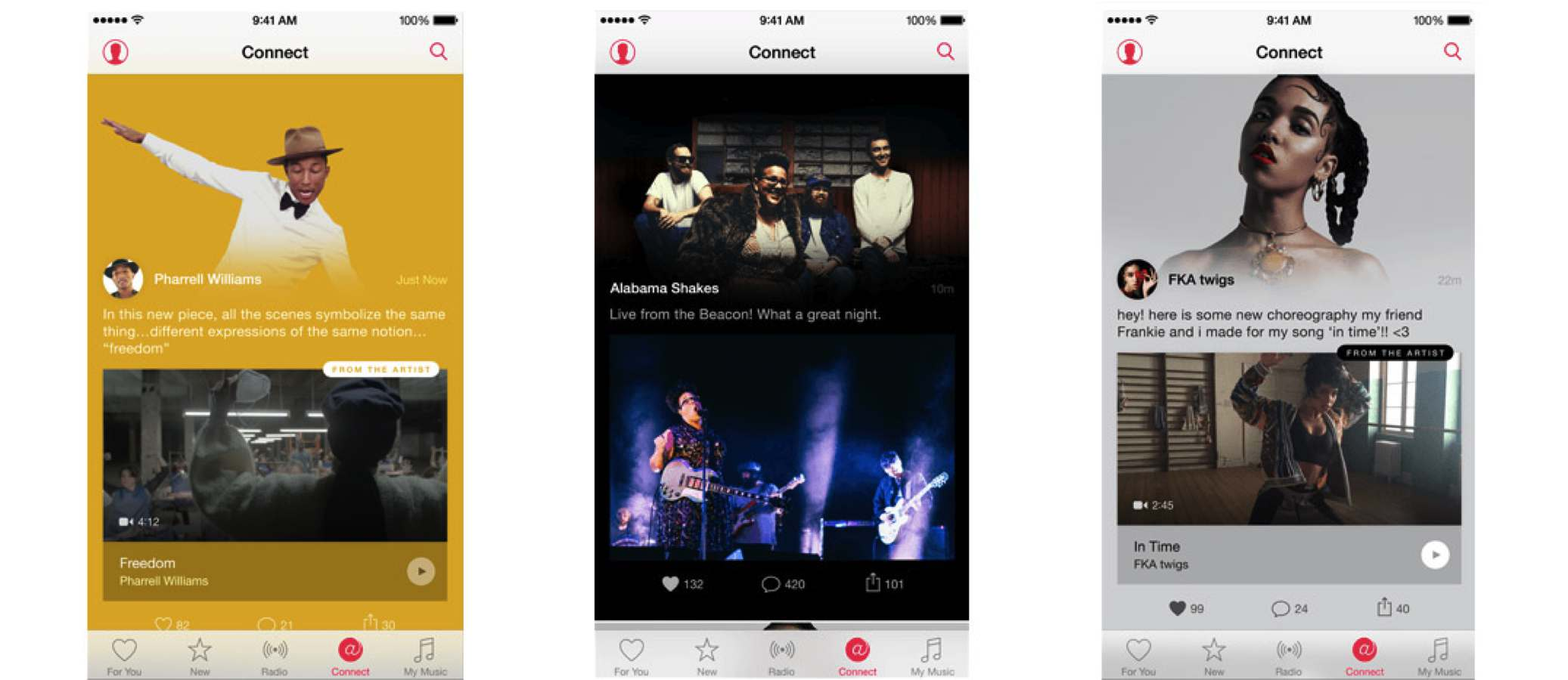 apple music connect screenshots