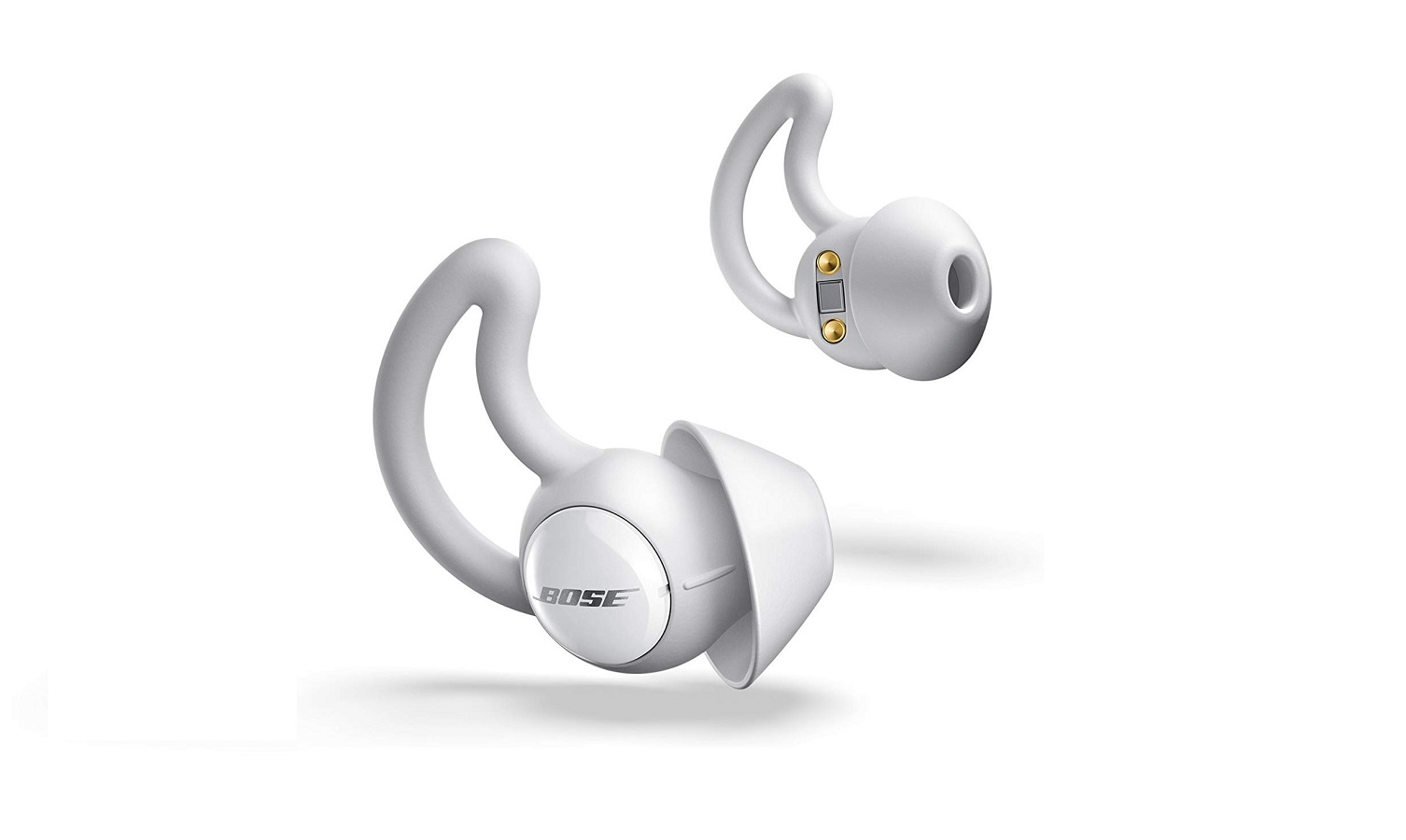 bose noise-masking earbuds on a white background