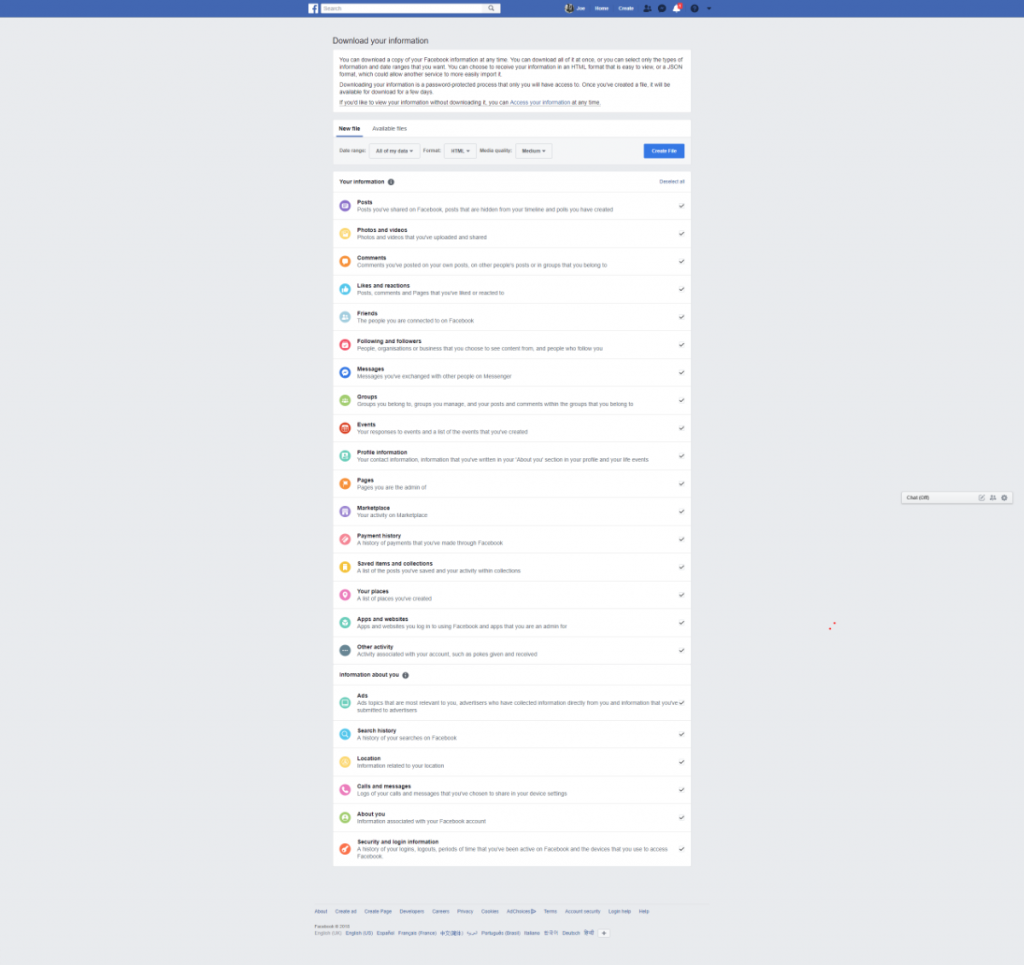 Choose which data to download from Facebook