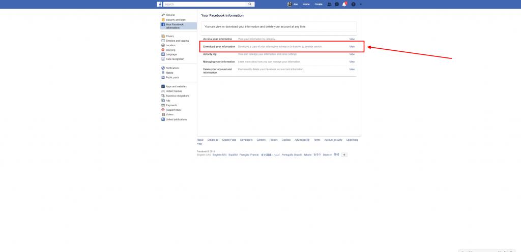 download your facebook information