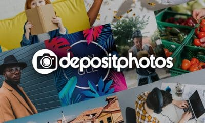 depositphotos stock logo with white text