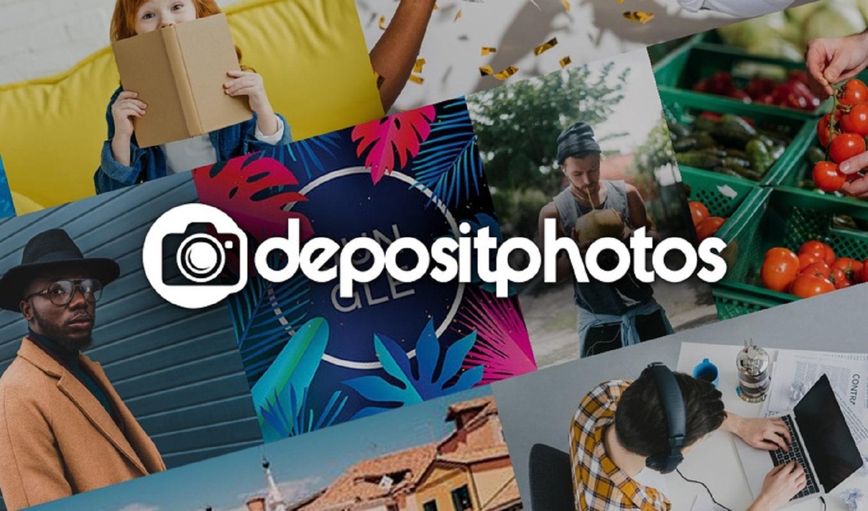 depositphotos stock logo with white text