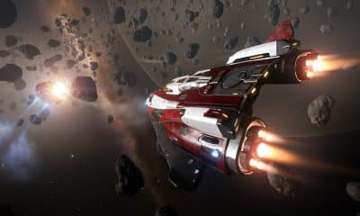 a ship in elite dangerous traveling through space