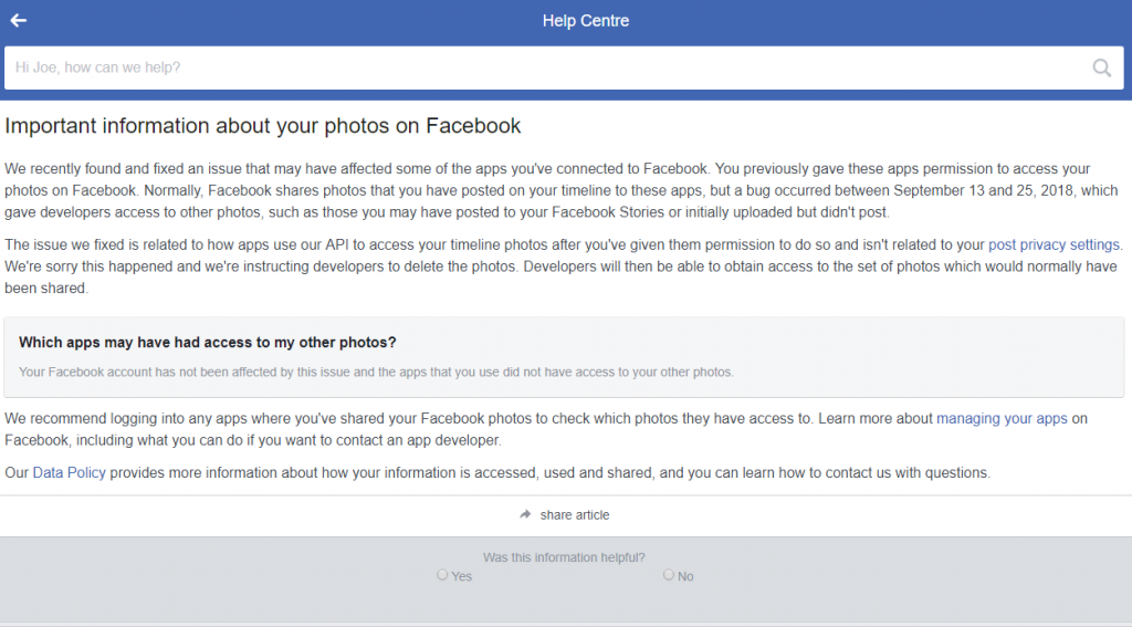 facebook page for checking if you were affected by the latest photo leak bug