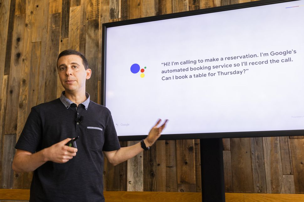 google duplex demo with orens hummus in front of screen