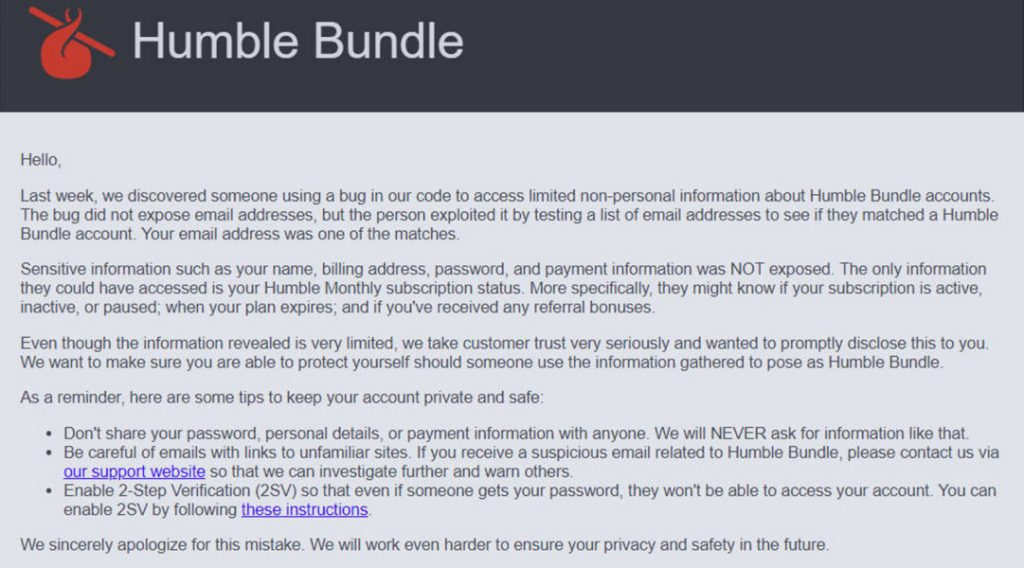 humble bundle breach notice