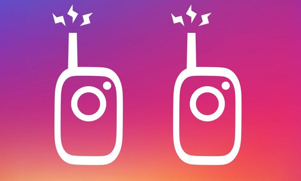 instagram walkie talkie logos on blue and purple background