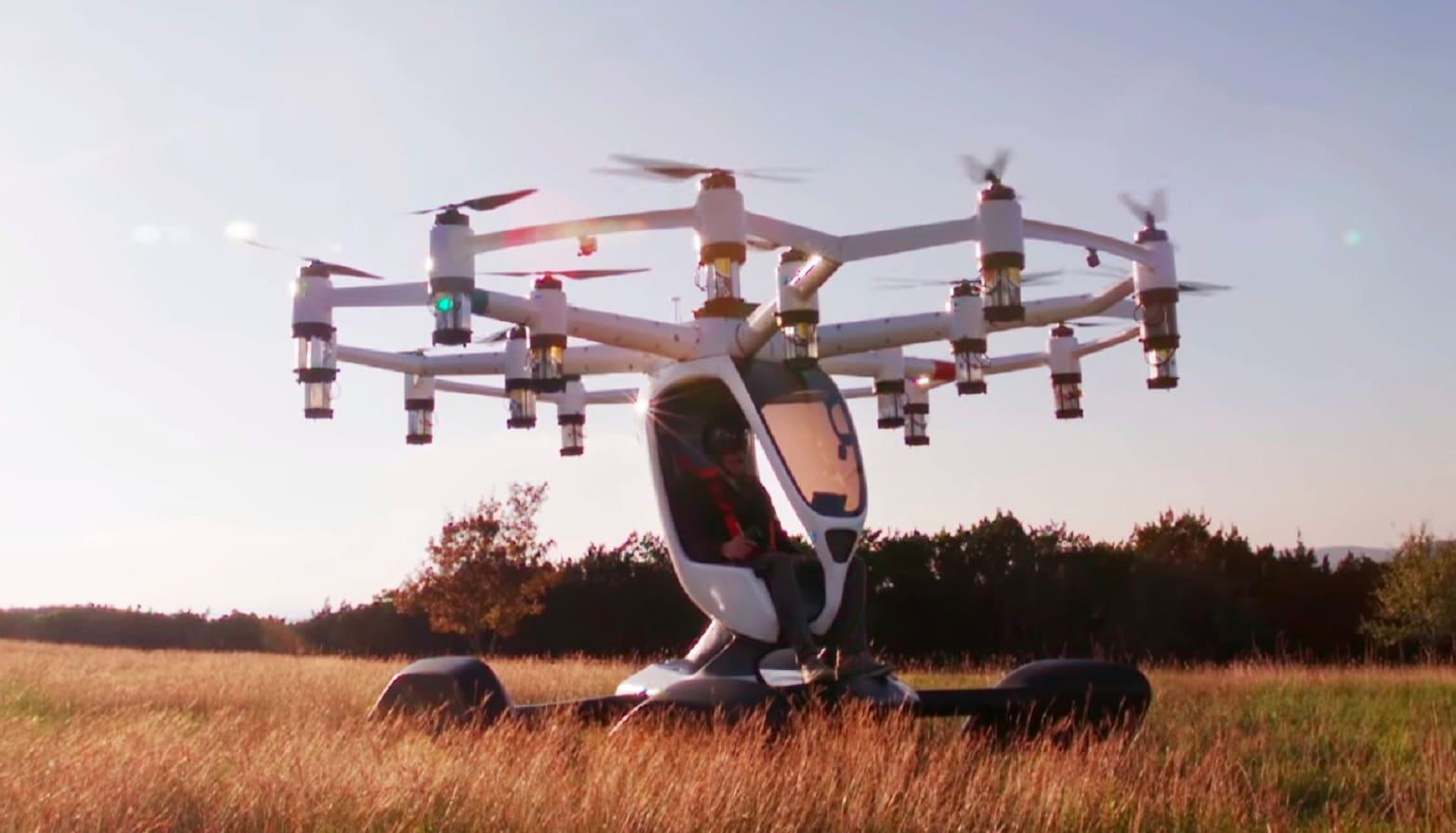 lift drone in field