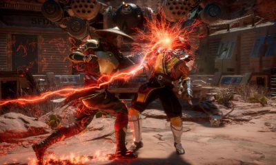 raiden and scorpion fighting in mortal kombat xi