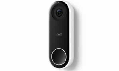 nest doorbell on white background