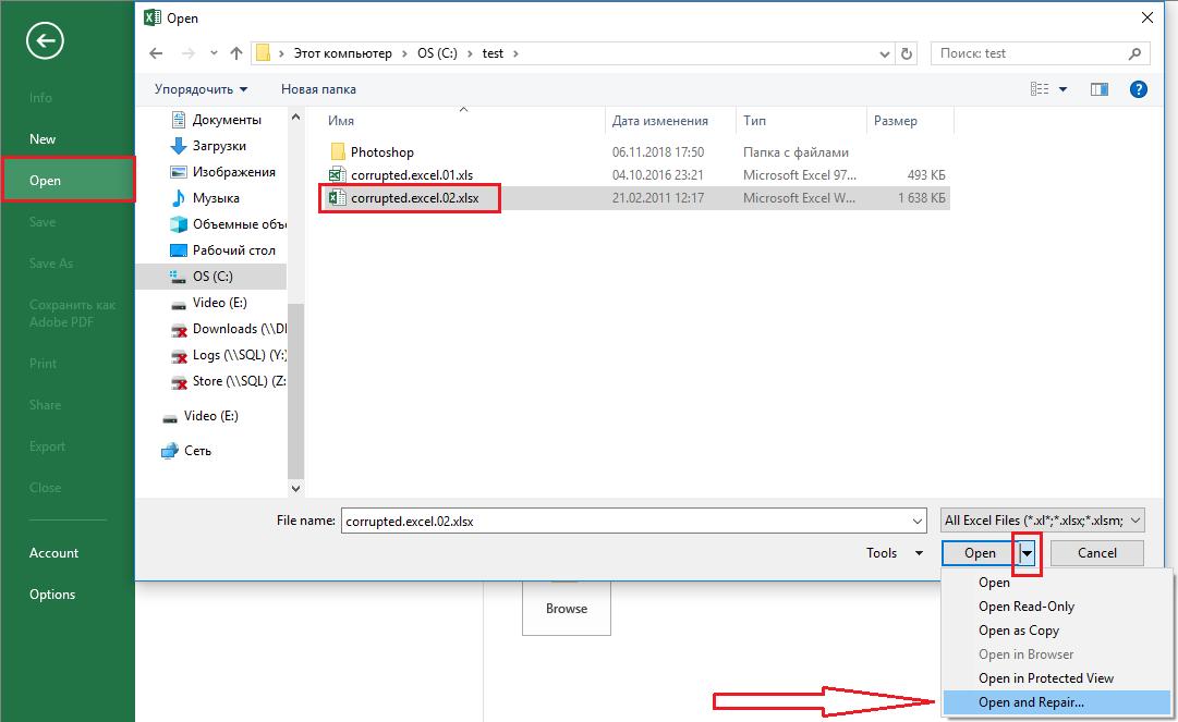 microsoft excel recover broken file