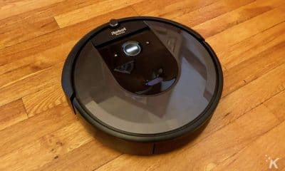 irobot roomba i7+ on hardwood floor