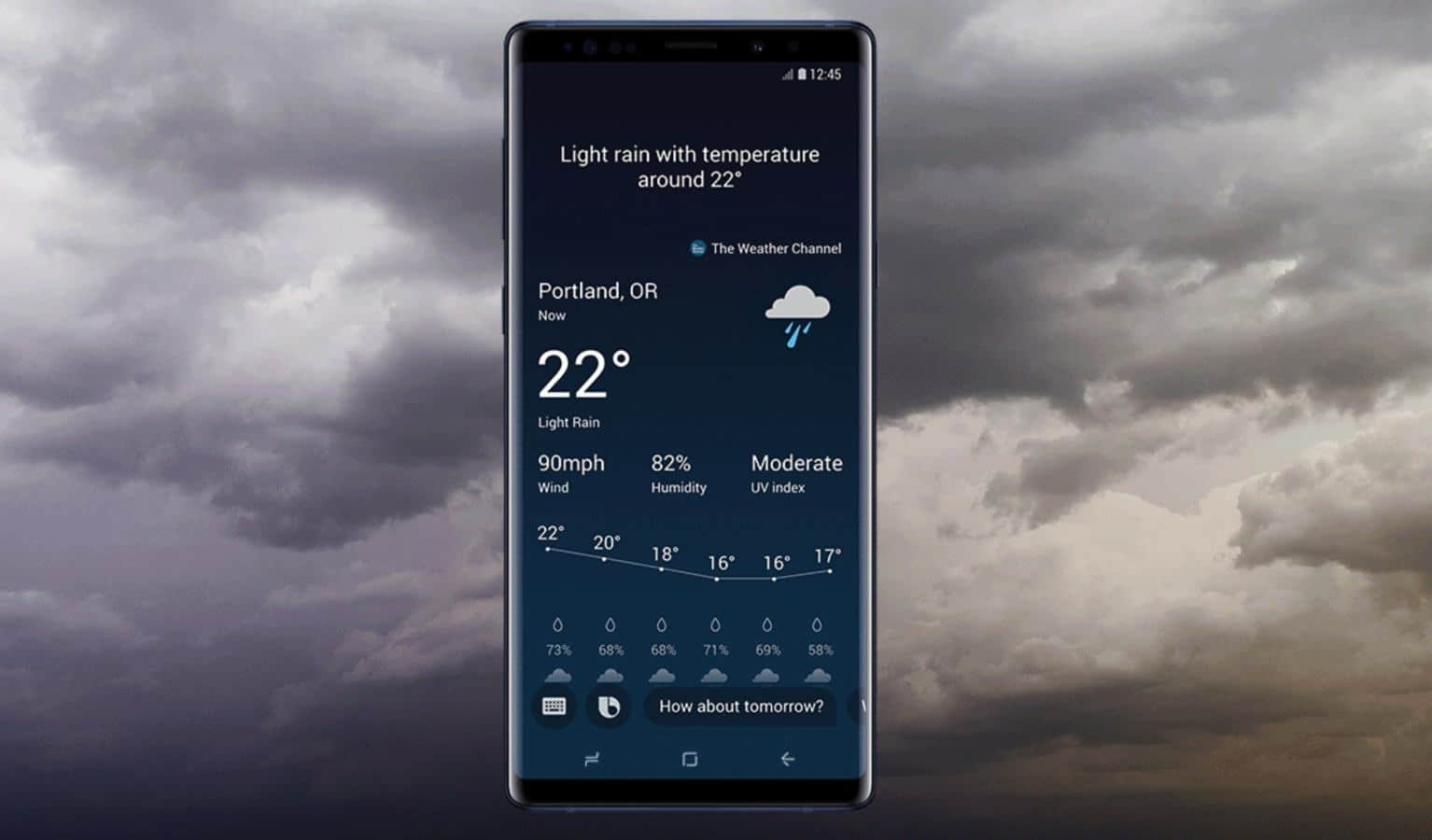 samsung bixby displaying the weather in Portland