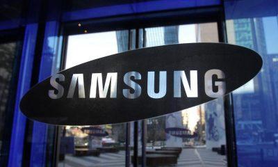 samsung logo on glass background galaxy s10 event