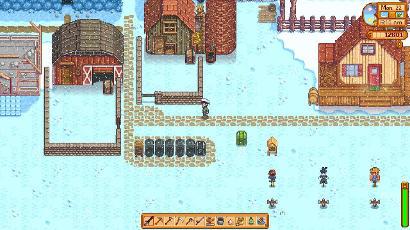 stardew valley gameplay during winter and snow