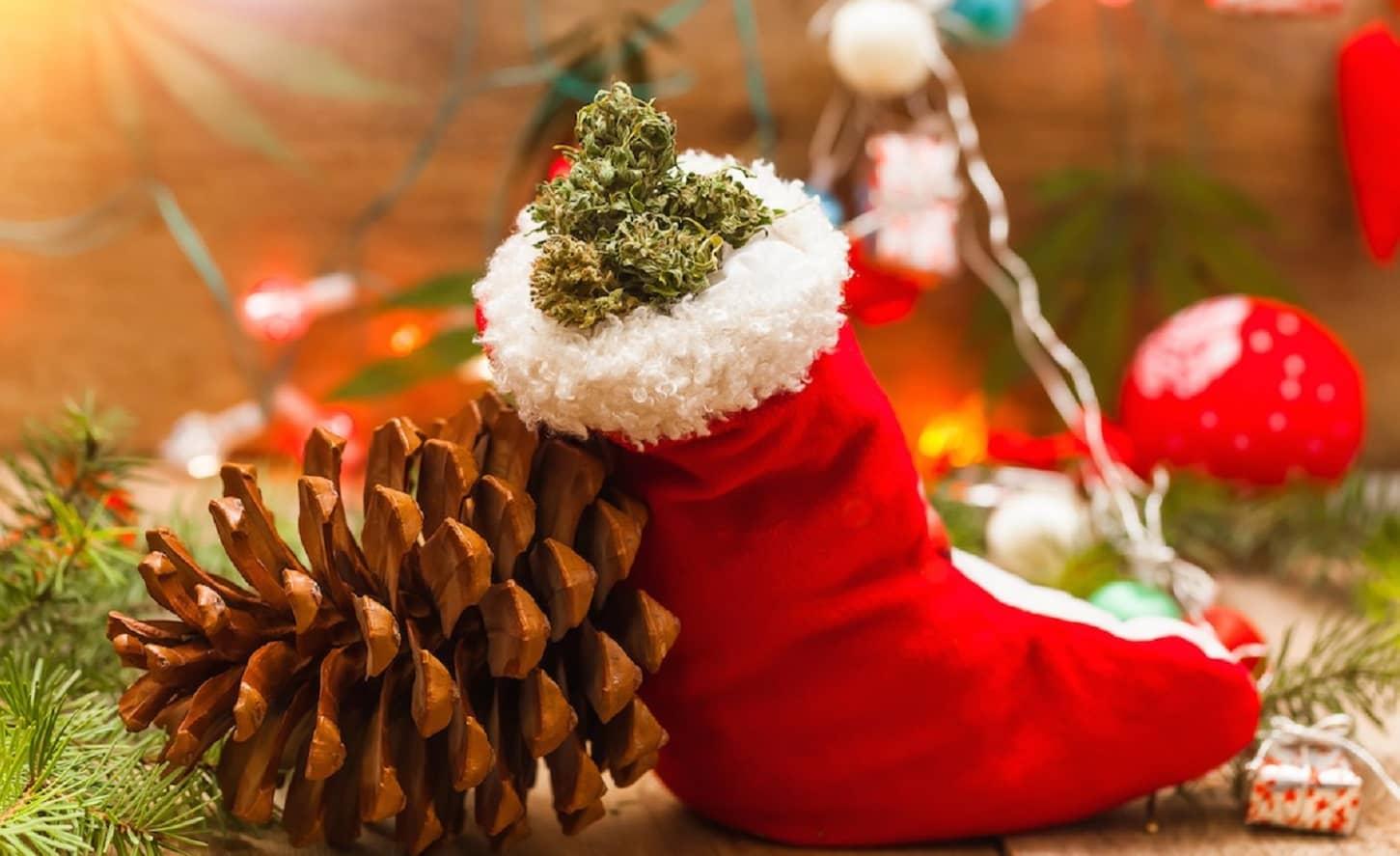 marijuana in a stocking at christmas