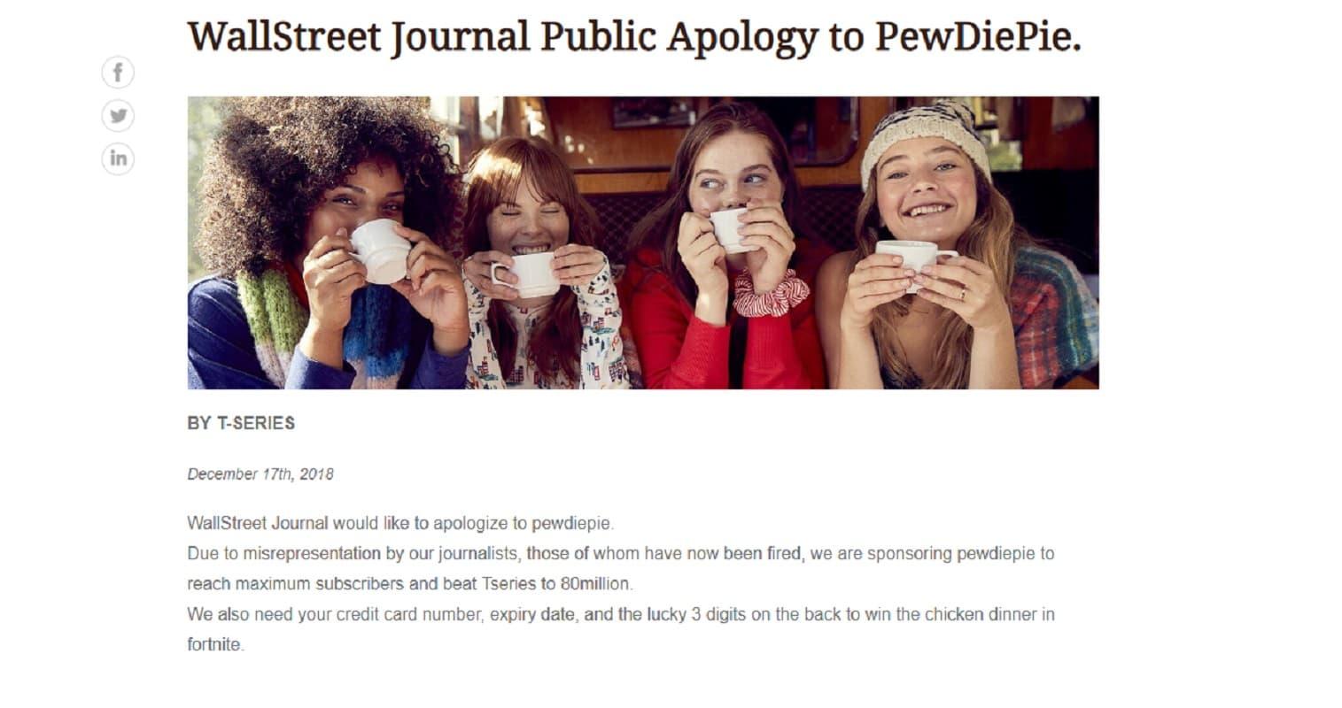 screenshot of hacked wall street journal ad promoting pewdiepie