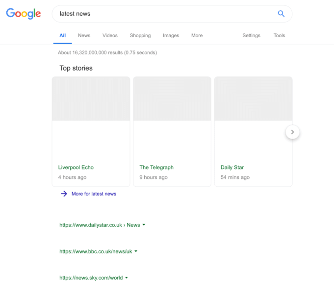 blank search results after EU's article 13 goes into force