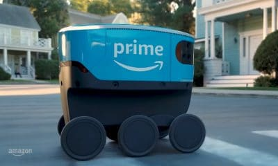 amazon scout delivery robot on street