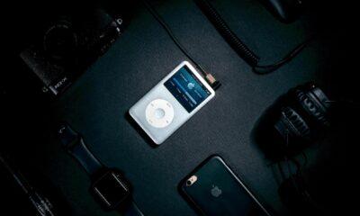 apple ipod on black background