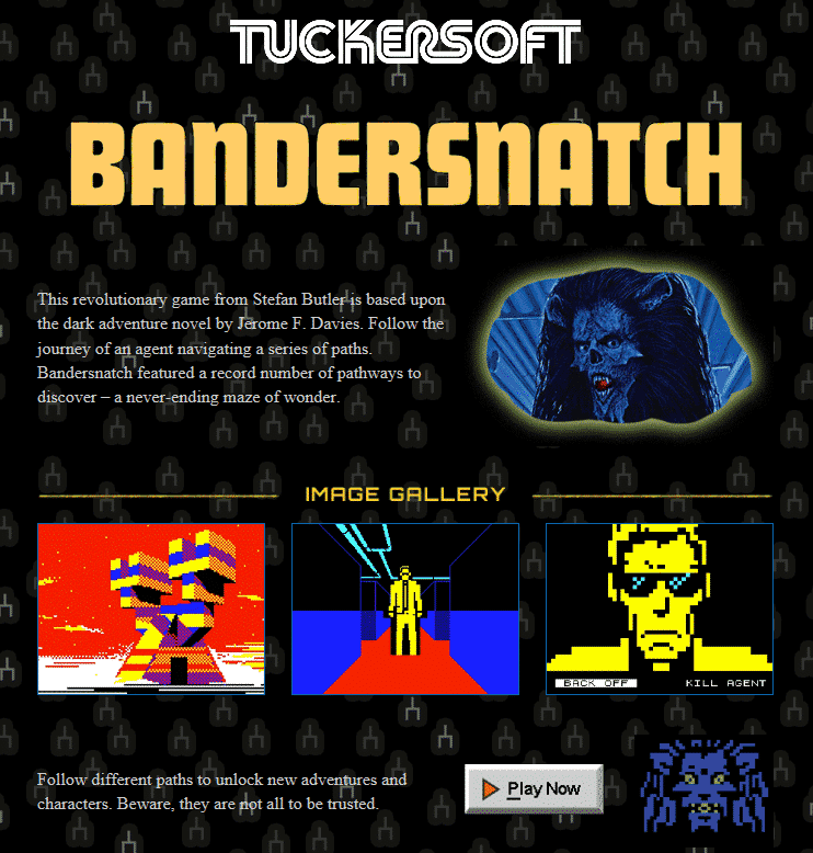 bandersnatch game page from tuckersoft