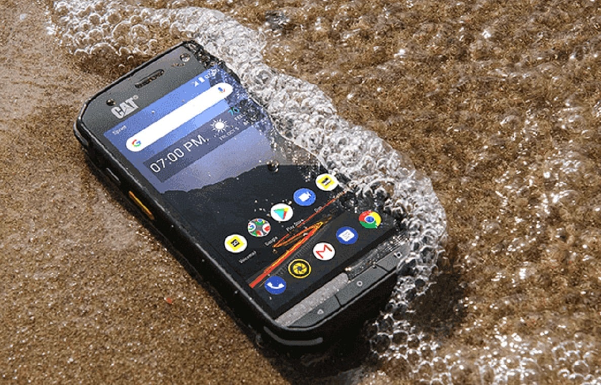 cat s48c smartphone on beach