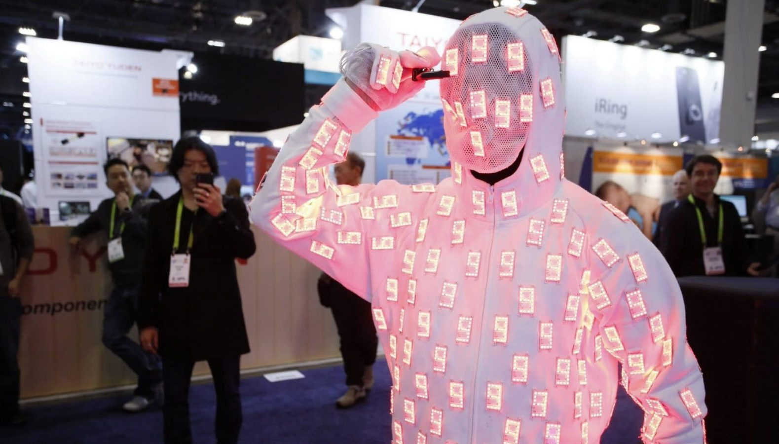 ces man wearing glowing suit at ces 2019