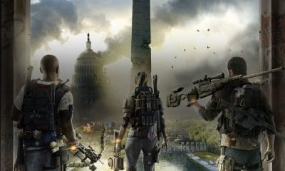 the division 2 game with three characters standing on screen