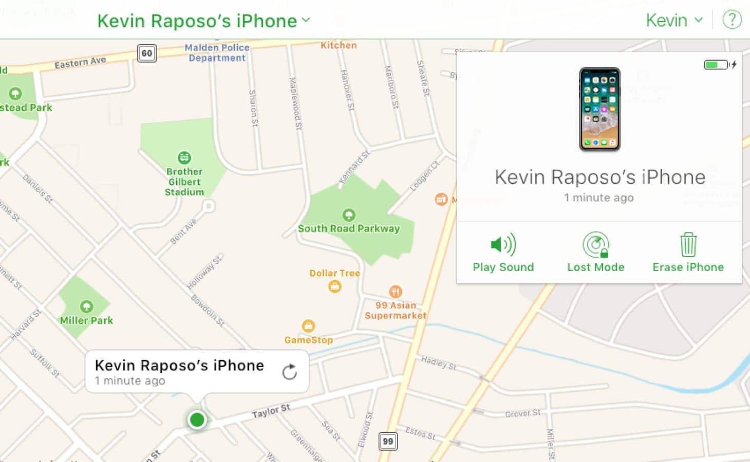 find my iphone feature kevin raposo map