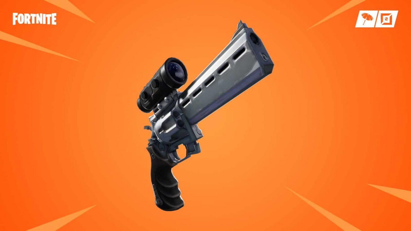 fortnite scoped revolver on orange background