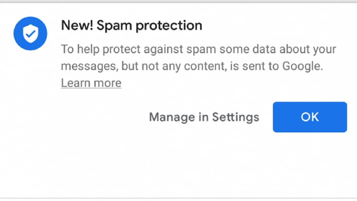 google android messages spam protection feature