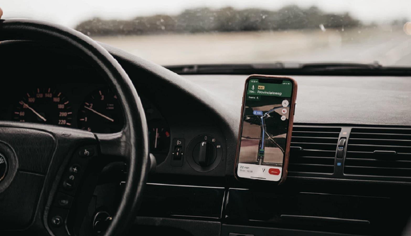 google maps on dash in car