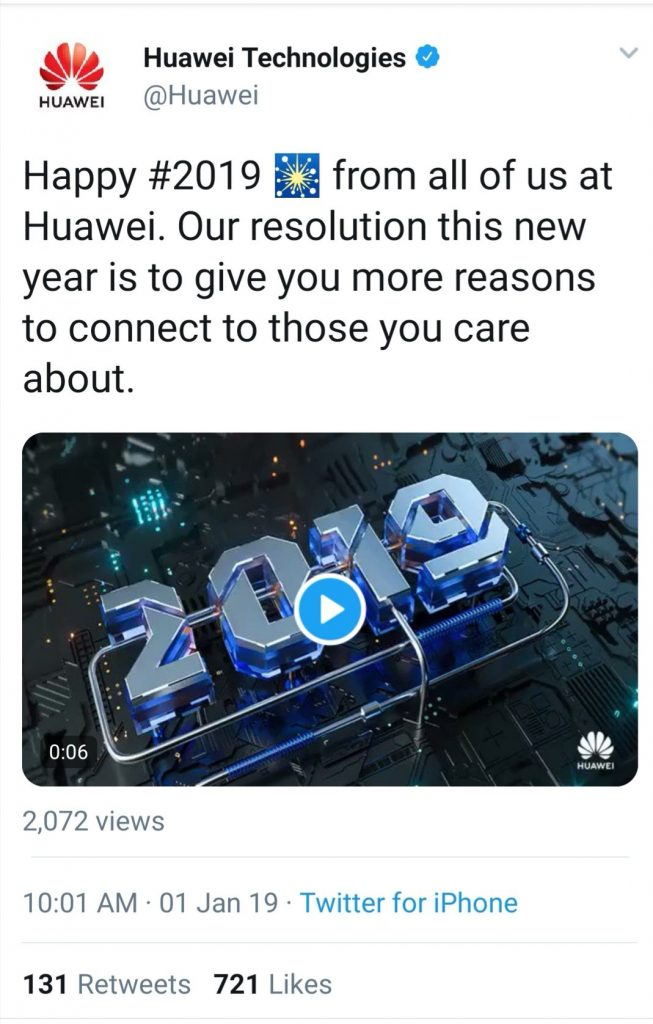 huawei sent new years wishes from an iphone
