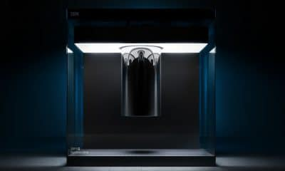 ibm quantum computer showcased on black background