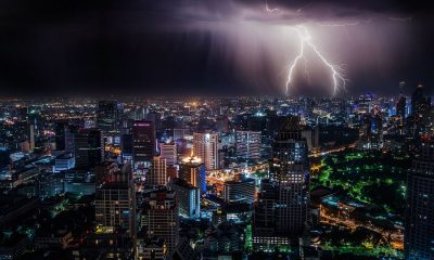 lighting over city weather