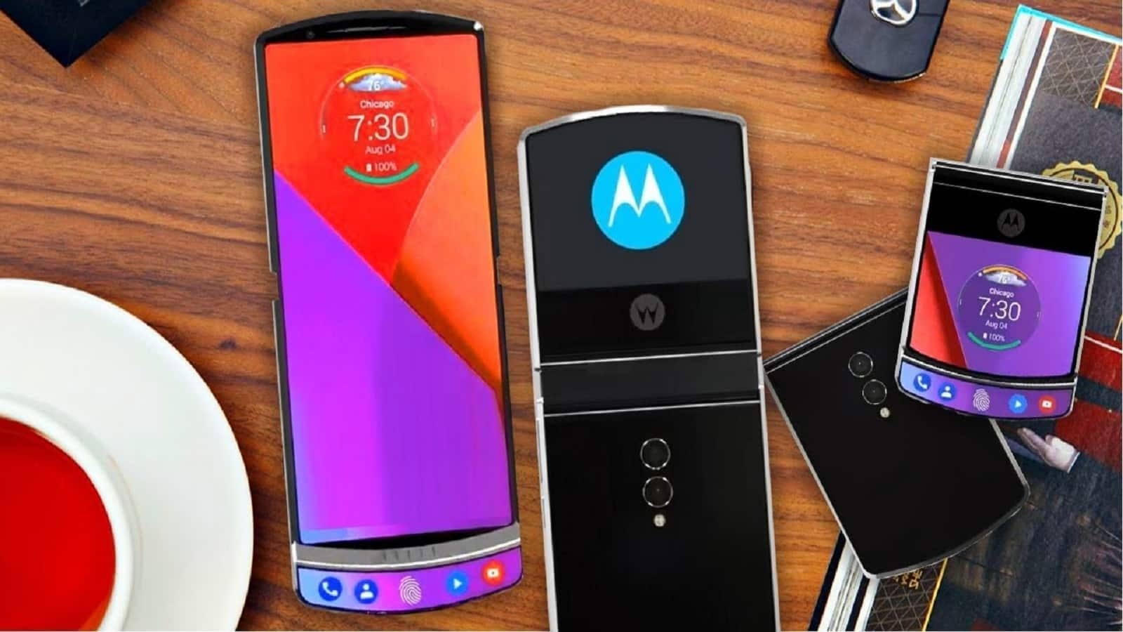 foldable motorola razr on table