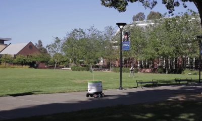 pepsico self driving robot driving around a college campus