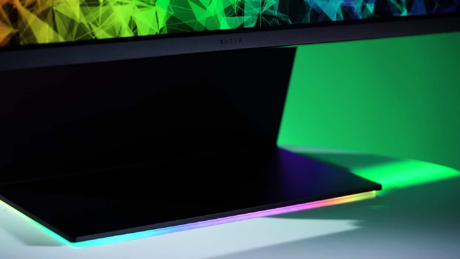 razer raptor gaming monitor with rgb base