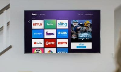 roku on a wall-mounted television