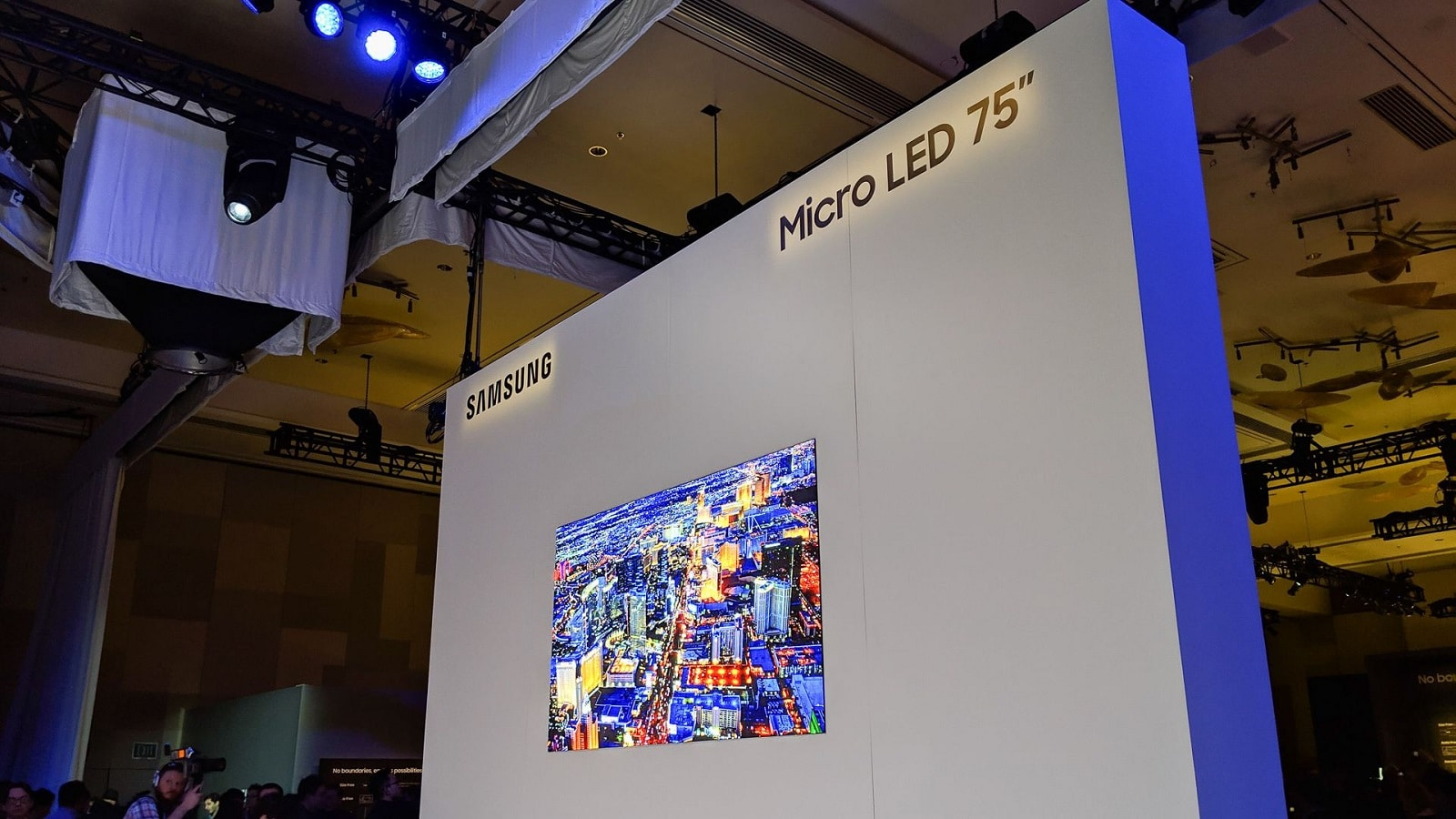 samsung modular television on wall at ces 2019