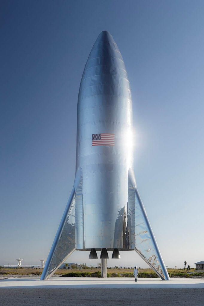 spacex starship on platform