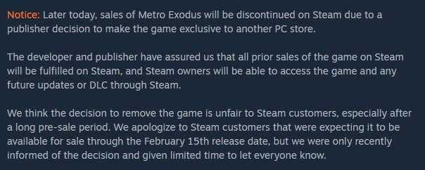 steam page for metro exodus