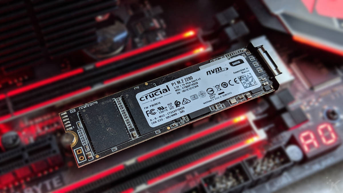 crucial p1 nvme drive on a motherboard