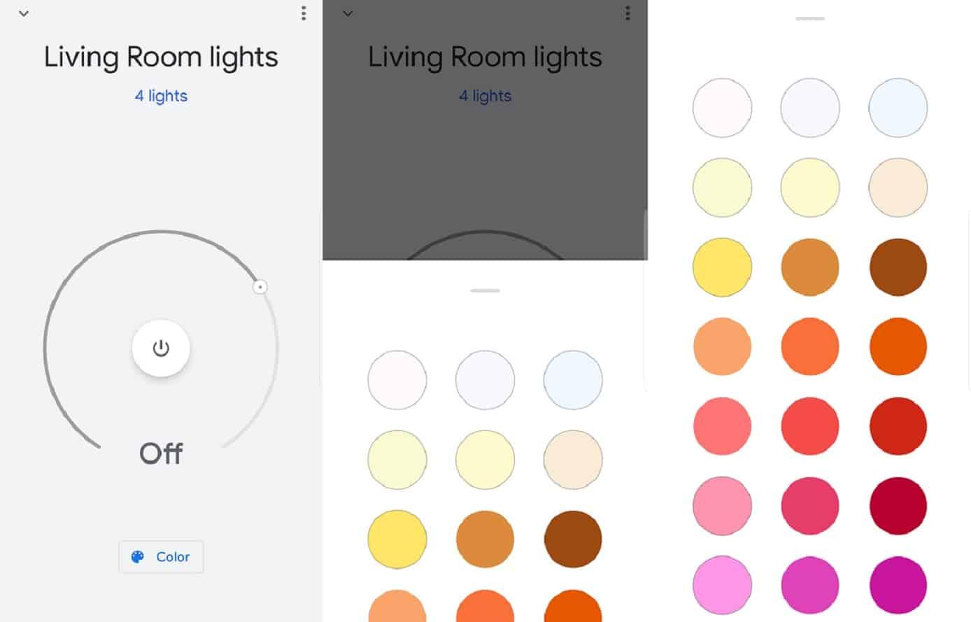 google home lights choices through app