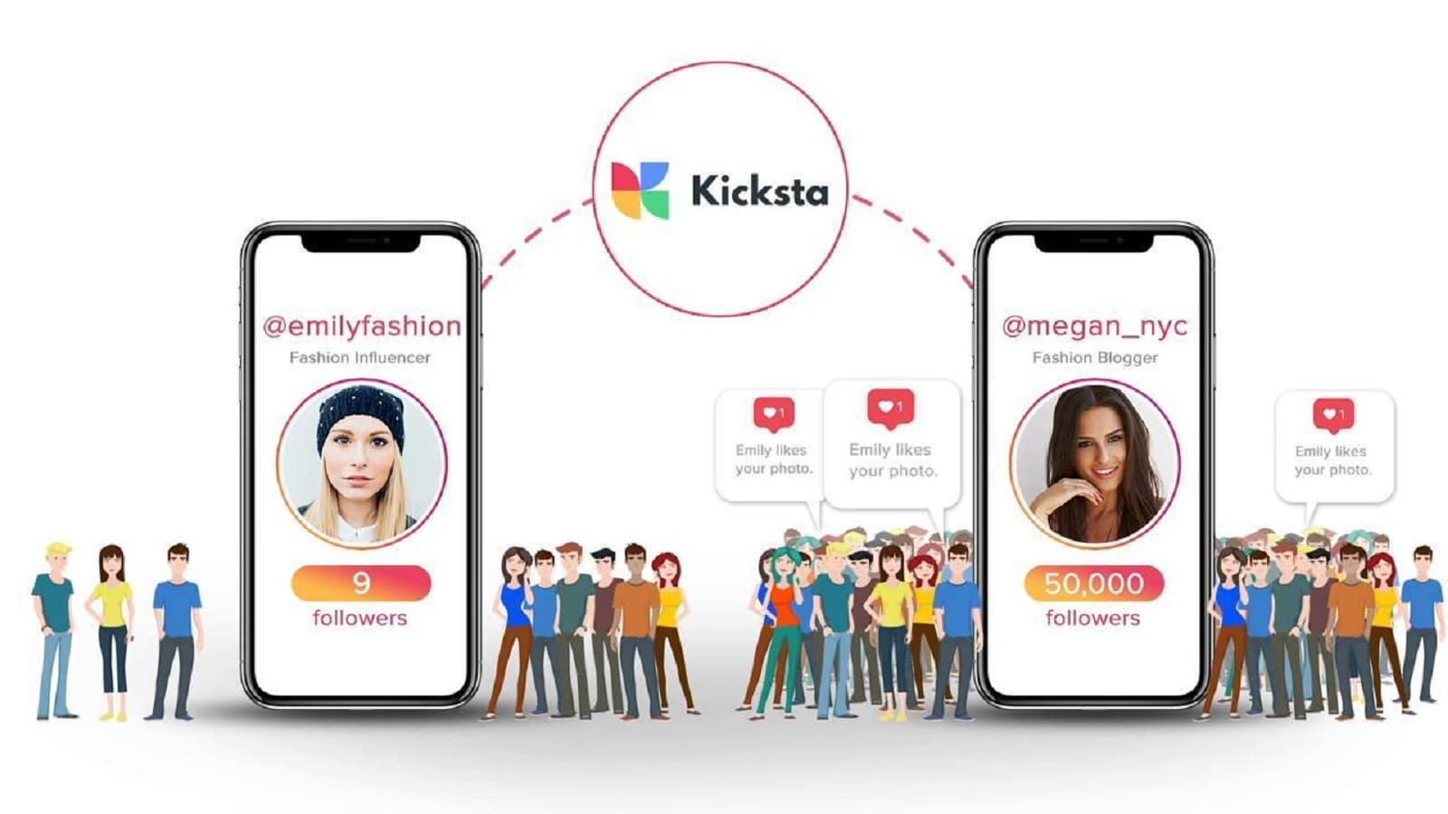 kicksta social media platform showing example