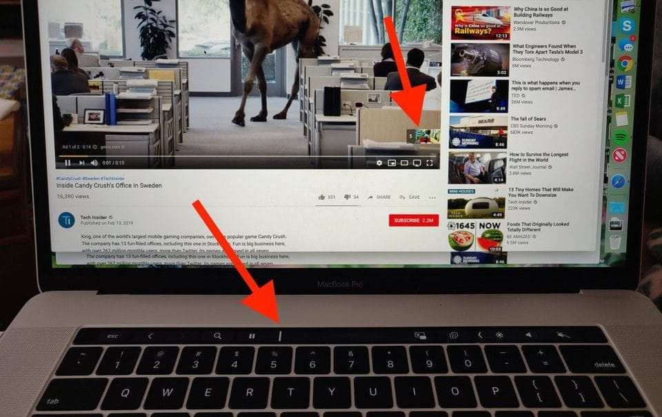 macbook pro touch bar skipping youtube ad