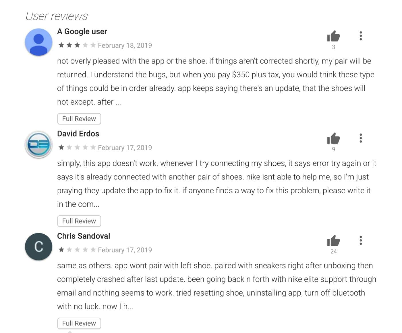 nike self lacing shoes app negative reviews on the google play store